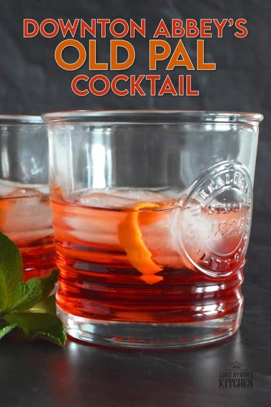 A chilled cocktail consisting of whiskey, dry vermouth, and campari. Don't forget the orange garnish. It makes a world of difference! #oldpal #cocktails #downtonabbey #canadianwhiskey #vermouth #campari