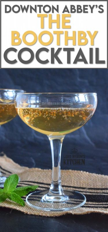Another Downton Abbey inspired cocktail is on the menu today.  This time, it's a chilled cocktail consisting of whiskey, dry vermouth, bitters, and sparking wine. Serve this beauty in a coupe glass for a full 1920s vibe. #cocktail #boothby #downtonabbey #coupe #sparklingwine #theresalwaystimeforacocktail