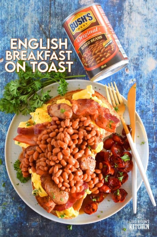 Traditions are wonderful, but who says you can't create your own? English Breakfast on Toast breaks down the long-lived, hearty English breakfast into a manageable and delicious work of art. It has all of the components, but showcased in a new and inventive light; are you hungry enough to give it a shot!?  #BushsBeans #IC #ad #englishbreakfast #beansontoast #bakedbeans #bigbreakfast #cannedbeans