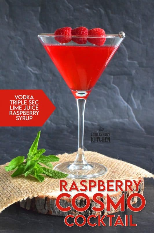 There are many variations on the classic cosmo, and this is one of my favourites. Raspberry Cosmo Cocktail is sweet and tart and relies heavily on fresh raspberries for flavour and colour.  Be sure to add a few fresh raspberries to the glass for presentation! #cosmo #cosmopolitan #cocktail #raspberry #berry #fruity