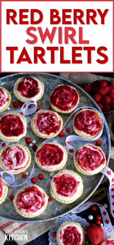 An easy to assemble treat perfect for any Canada Day celebration. Red Berry Swirl Tartlets are flaky, buttery, creamy, and sweet! #canadaday #recipes #redandwhite #tarts #berry #red