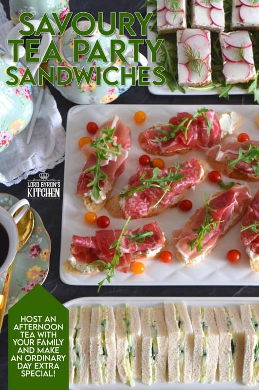 Savoury Tea Party Sandwiches are small, inexpensive, delicious, and easy to assemble.  Serve with hot tea, fresh fruit, and sweet treats for a complete afternoon tea.  Get dressed up for the occasion, and make it something special even if you are only sharing it with your immediate family during this pandemic. #teaparty #englishtea #hightea #tea #afternoontea #teasandwiches #fingerfoods #sandwiches