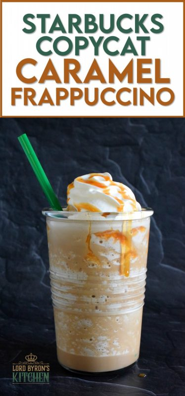 In less than 5 minutes, this at-home copycat version of Starbuck's popular Caramel Frappuccino could be all yours. Think about it – no line up, no drive thru, and no putting on pants to go out! That's all the reason I need! #starbucks #copycat #caramel #frap #frappuccino