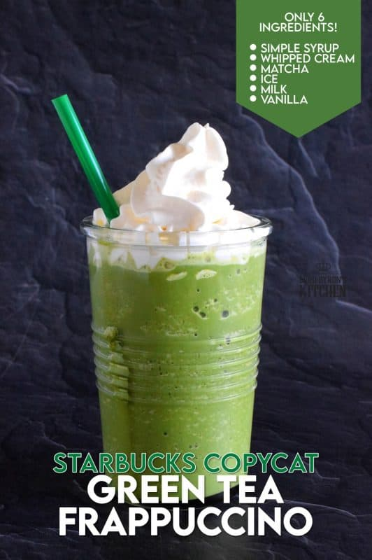 In less than 5 minutes, this at-home copycat version of Starbuck's popular Green Tea Frappuccino could be all yours. Think about it - no line up, no drive thru, and no putting on pants to go out! That's all the reason I need! #starbucks #copycat #greentea #frap #frappuccino #frozendrinks