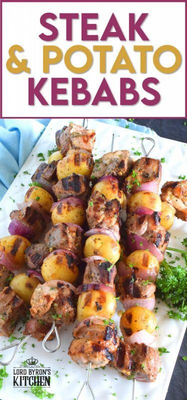 Steak and Potato Kebabs are a complete meal on a stick. Marinated and skewered beef is paired with baby potatoes and red onions before being grilled to perfection! This is a stick to your ribs meal with minimum effort and maximum flavour! #steak #beef #kebabs #skewers #meatandpotatoes #summergrilling