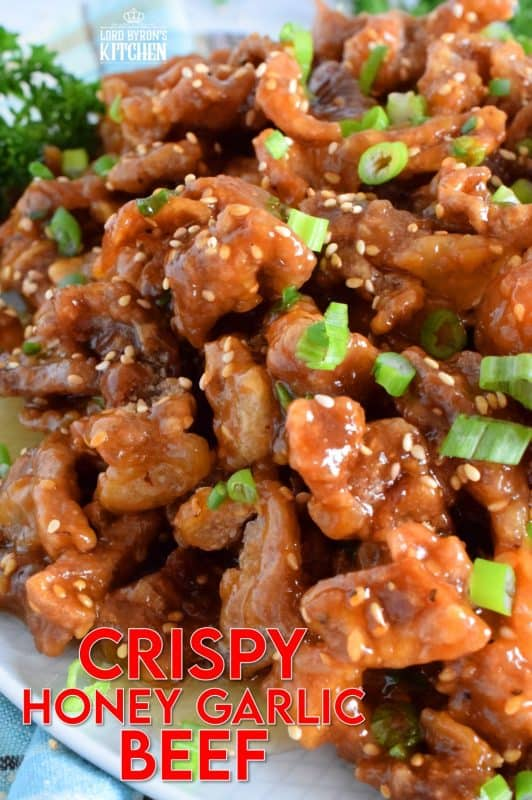 Thinly sliced beef, fried until crispy, and coated in a sweet and sticky honey garlic sauce. Crispy Honey Garlic Beef takes about 30 minutes from start to finish, and it is a wonderfully and budget-friendly main. Serve with rice and steamed veggies for a complete meal! #honeygarlic #crispybeef #beef #takeout #asian #chinese #restaurant