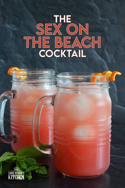 If a cocktail is to be called Sex on the Beach, the look and taste must be able to demand attention! Prepared with peach schnapps, orange juice, cranberry juice, and lemon juice, this drink is certainly fruity, refreshing, and made with summer in mind. Now, who wants one!? #cocktail #summerdrinks #sexonabeach #schnapps #vodka