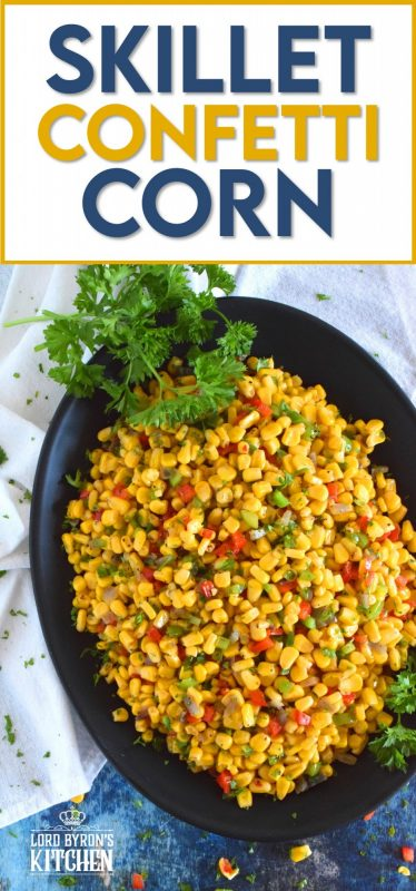 A bright, bold, and fresh summer side is right here! Skillet Confetti Corn is the most delicious summer side and it takes less than twenty minutes from start to finish. Sautéed in butter, corn is paired with bell peppers, red onions, jalapenos, and green onions. It's one of those sides you always wish you made more of! #corn #summer #summersides #confetti #salad #sidedish #vegetable #vegetarian