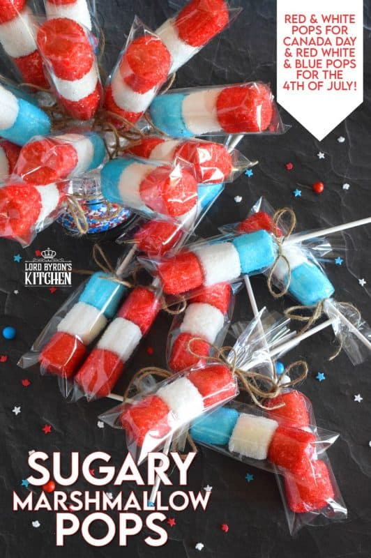 Young kids and old kids alike will love these Sugary Marshmallow Pops! They're easy to prepare and a lot of fun too. It's like making a craft that you can eat when your finished working on it. Crafting and eating - the best of both worlds combined! #marshmallows #marshmallowpops #sprinkles #4thofjuly #canadaday