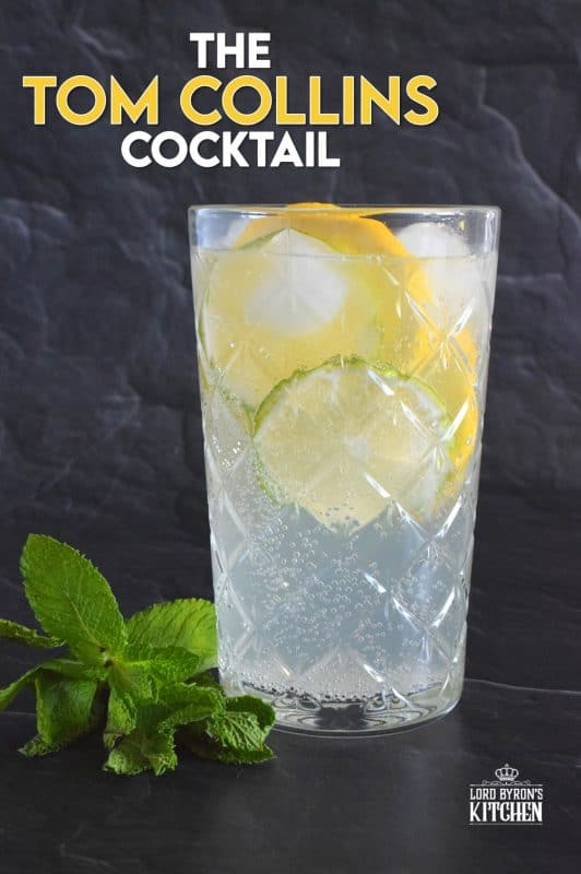 This tall glass of lemon flavoured cocktail is cold and refreshing. Prepared with simple ingredients like fresh lemon juice, gin, sugary syrup, and soda, it's sure to wake up your senses! When it comes to drinks suited for lounging in the backyard on a hot, summer day, nothing beats a Tom Collins Cocktail! #cocktail #tomcollins #theresalwaystimeforacocktail #summerdrinks