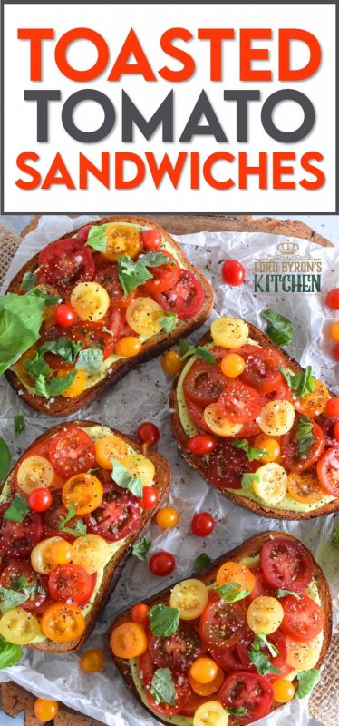 There is nothing in the world as delicious as a Toasted Tomato Sandwich prepared with locally grown, in-season, fresh tomatoes. It's a classic, and one that many of us can remember from the summers of our childhood. This version is simple and easy, but with a few surprise ingredients to increase the yum factor. #toasted #tomato #sandwich #tomatoes #summerfresh #local #sandwiches #classic