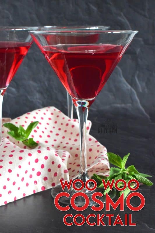 Don't let this nonsensical name fool you! The Woo Woo Cosmo Cocktail is not only fun to say, but is deliciously flavourful! With its beautiful, deep red colour, and its intoxicating scent, this is a cocktail recipe you might want to commit to memory, because you will want to make it over and over again! #cosmo #cocktail #cosmopolitan #woowoo