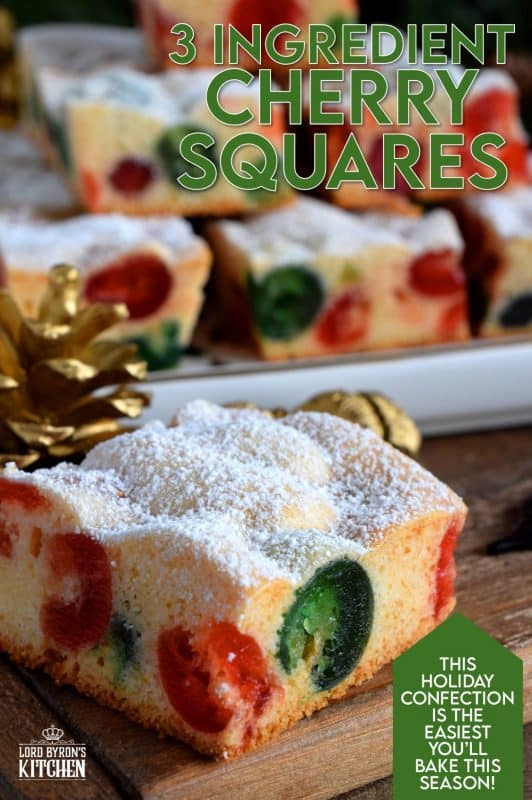 Sometimes are recipe needs to be quick and easy. 3 Ingredient Cherry Squares are just that, but they are also pretty to look at and delicious too! #3 #ingredient #squares #candied #cherries #christmas #holiday #baking