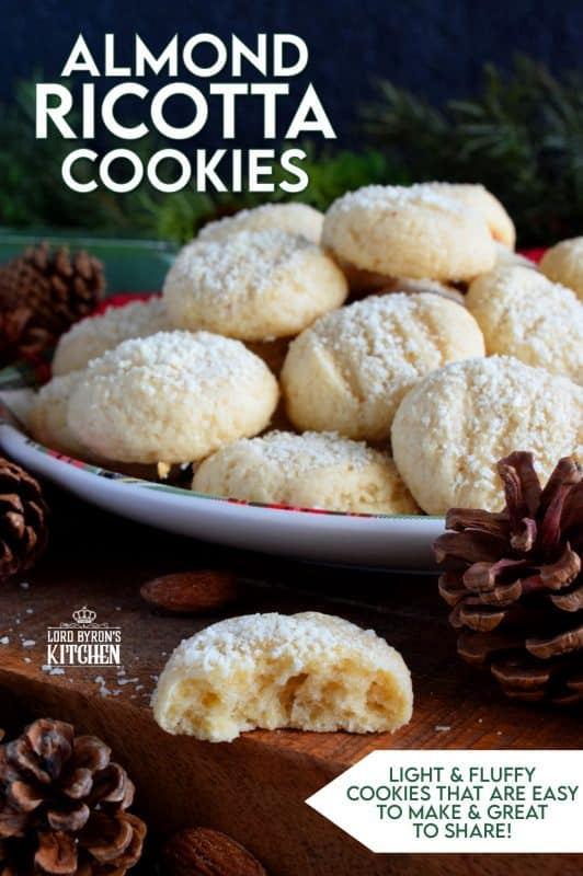 Ricotta cheese is baked into these Almond Ricotta Cookies, which will help keep the cookies soft and fresh for all of your holiday visitors! This cookie looks rather plain and boring, but the flavour is tremendously good! #Italian #cookies #christmas #holiday #almond #ricotta #cheese #baking