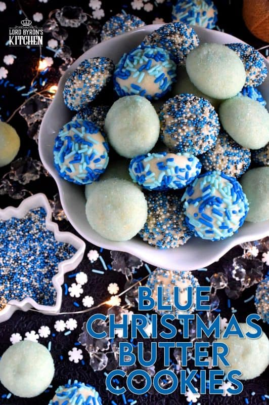 Butter, flour, and sugar are the main ingredients in these Blue Christmas Butter Cookies.  Your Christmas will be anything but blue though after you bite into these cookies! They are the type of cookie that just melts in your mouth, and before you know it, you've eaten way more than your share! #christmas #holiday #baking #cookies #butter #blue #bluechristmas