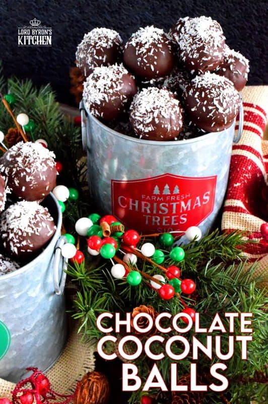 A sweet, moist, coconut and vanilla flavoured center, covered in a chocolate coating, Chocolate Coconut Balls are an easy, no-bake holiday favourite! Very freezer-friendly and great for gift-giving too! #christmas #holiday #coconut #chocolate #balls #nobake