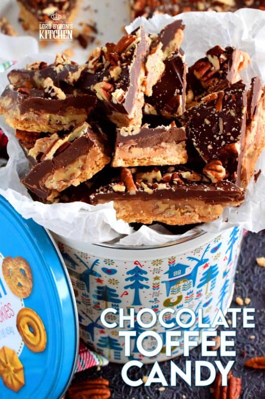 Chocolate Toffee Candy has it all – chocolate, crackers, toffee, and pecans – it's a decadent, indulgent, holiday treat that every loves to eat too much of! #toffee #homemade #candy #nobake #christmas #holiday