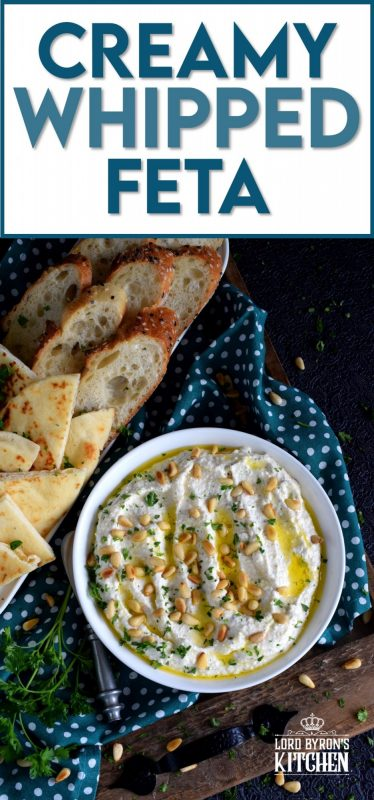 Salty and velvety smooth, seasoned with pantry herbs and spices, Creamy Whipped Feta will satisfy all of your snack cravings. Smear it on crackers and bread, or use it as a dip with veggies or pita. #feta #fetadip #whippedfeta #dip #spread #appetizer