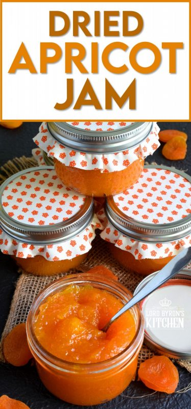 Thick, tart, and sweet, Dried Apricot Jam is great on toast, smeared onto scones, or baked into thumbprint cookies! Dried apricots make it very quick and easy to make jam, because there is very little moisture content, so the jam comes together without excessive simmering time. #preserves #apricot #dried #fruit #jam