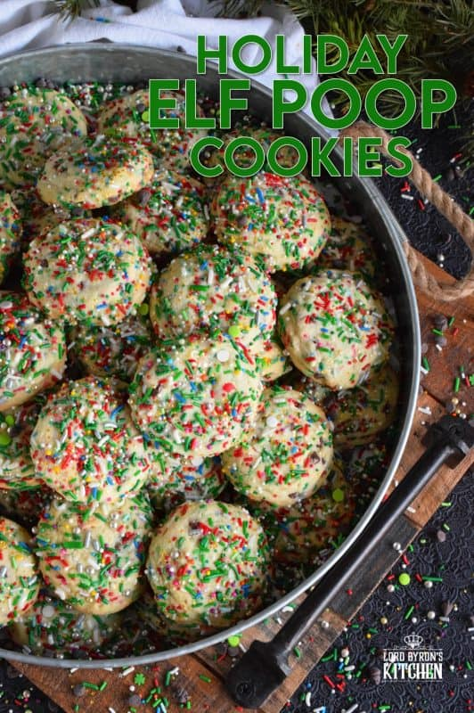 Elf Poop Cookies are peppermint flavoured and packed with sprinkles, chocolate, and of course, sugar! Despite the odd name, these are a delight to make with both the big and little kids in your life! After all, who doesn't like to bake with sprinkles? #elf #cookies #sprinkle #poop #christmas #holiday #baking