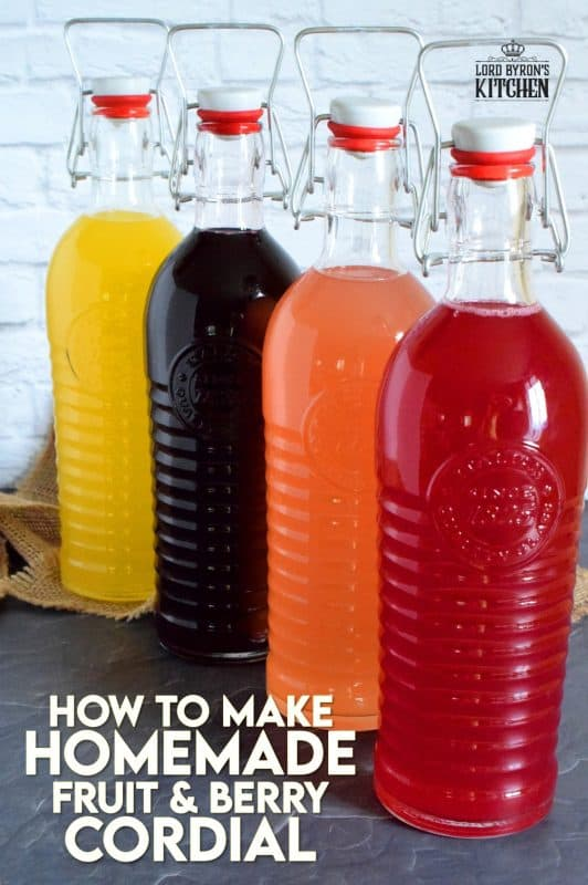 Cordials are nostalgic and remind us of simpler times. A fast paced life is no reason to forego the finer things - like how to make homemade fruit and berry cordials! #fruit #berry #citrus #cordial #squash #concentrate #juice