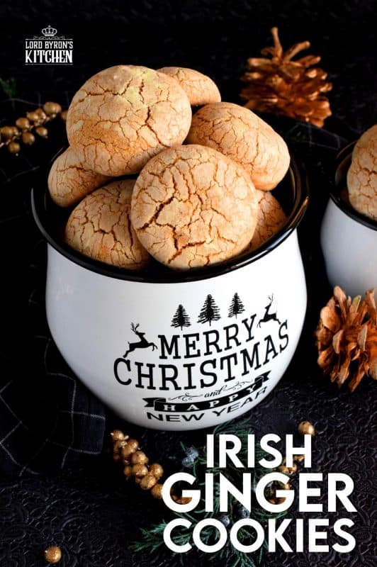 A soft, chewy, moist center with a sugary, crunchy coating; Irish Ginger Cookies are golden nuggets of cookie perfection with the deep ginger flavour we all love. #christmas #holiday #baking #cookies #ginger #irish