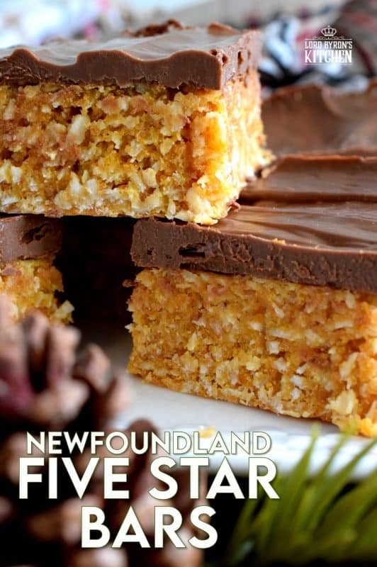 The deliciously simple Newfoundland Five Star Cookie Bars use the most inexpensive ingredients and taste like a million bucks! Don't substitute the Aero bars if you want the real deal! This traditional confection earns a five star rating every single time! #newfoundland #five #5 #star #cookies #bars #christmas #holiday #nobake