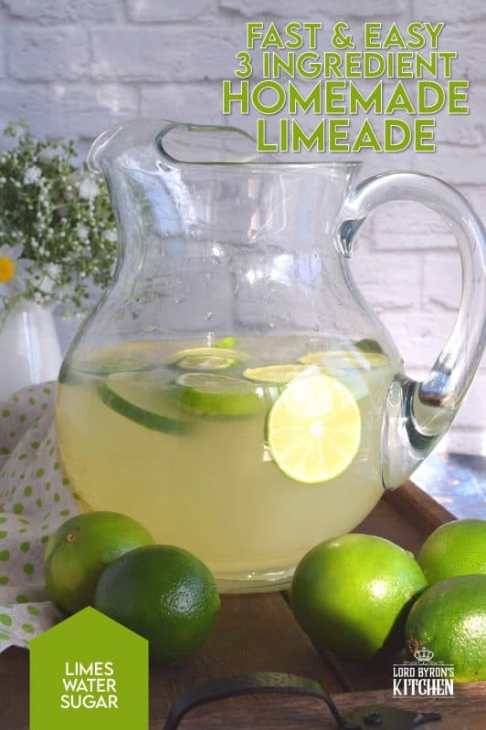 If you enjoy the tart and bitter taste of lime, then you'll love my Homemade Limeade made with just 3 ingredients! Perfectly sweetened and just the right amount of pucker! #juice #lime #limeade #fresh #squeezed #oldfashioned #summer #nonalcoholic