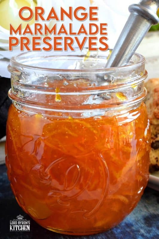 Perfectly tart and sweet Orange Marmalade Preserves is made without any thickening additives - great at breakfast time or over vanilla ice cream! Once you taste this homemade marmalade, you'll never buy it from the store again! #jam #marmalade #orange #homemade #preserves