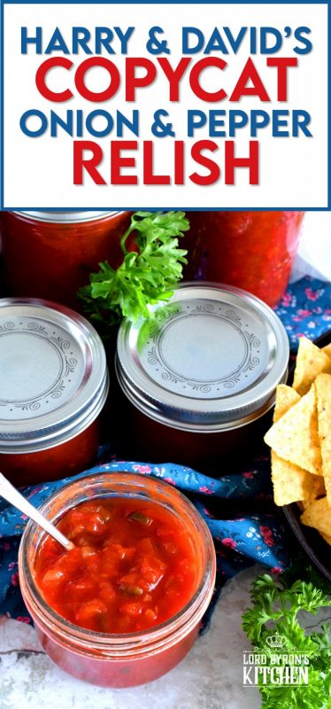 A very precise and accurate copycat version of Harry & David's popular relish, Pepper and Onion Relish is a condiment you'll use over and over again, making it so worth the effort! #relish #copycat #canning #preserves #waterbath #harry&david