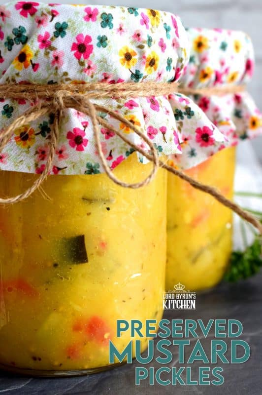 Preserved Mustard Pickles are a sweet and tart condiment or side dish made from cauliflower, zucchini, red bell pepper, onion, and carrot. A condiment so delicious, I often eat it as a side dish! #preserved #canning #mustard #pickles #newfoundland #newfie