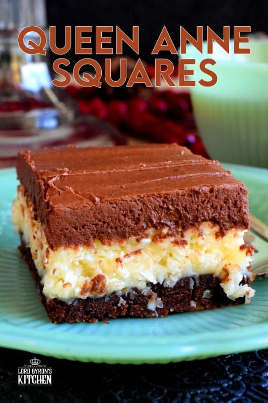 A triple layer square which boasts a coconut and chocolate flavour combination, Queen Anne Squares are an extremely popular Christmastime time confection! #christmas #holiday #cookie #squares #queenanne #newfoundland #baking