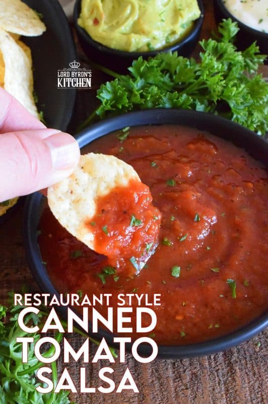 Unlike store-bought chunky salsa, Restaurant Style Canned Tomato Salsa, sometimes called Blender Salsa, is a smooth condiment that lends itself to more than just a dip for chips! #salsa #blender #canning #restaurant #style #smooth #homemade