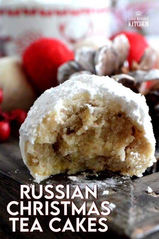 Often prepared and eaten at Christmastime, Russian Christmas Tea Cakes are made from a mixture of nuts and coated twice in powdered sugar. They're messy, so just don't wear a black shirt when eating these and you'll be fine!. #christmas #holiday #baking #russian #teacakes
