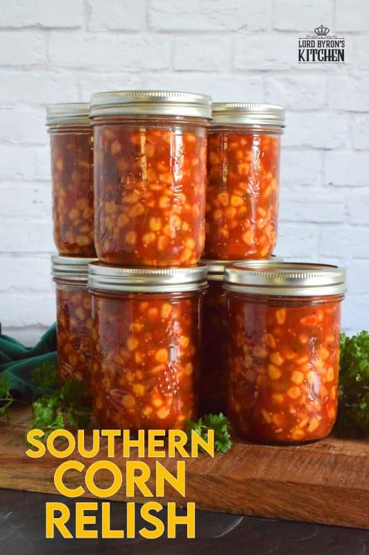 A traditional relish with a southern twist! Prepared with corn, tomatoes, onions, bell peppers, and jalapenos, Southern Corn Relish is a condiment that demands respect and attention! #canned #canning #preserves #southern #corn #relish