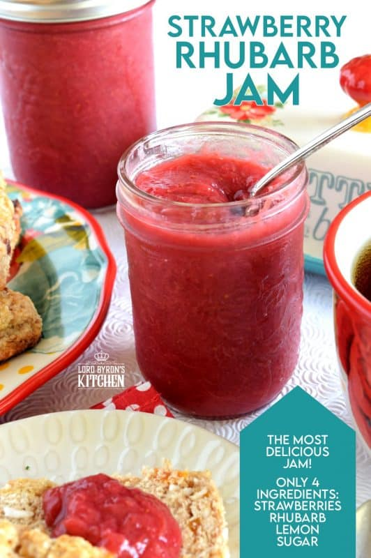This jam is as good as it gets - simple ingredients and easy preparation.  Strawberry Rhubarb Jam is the perfect small-batch recipe for all of your summertime indulgences! #strawberry #rhubarb #strawberryrhubarb #jam #preserves #smallbatch