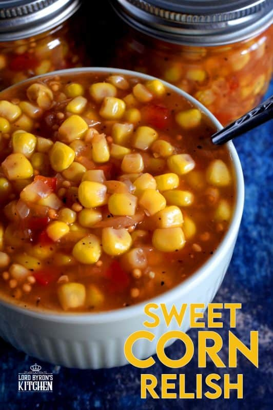 Sweet Corn Relish was a regular staple in our refrigerator when I was growing up.  We put it on everything!  I've found a recipe that's just like the store-bought kind, but with less sugar and no preservatives! #relish #cornrelish #canning #preserves #corn