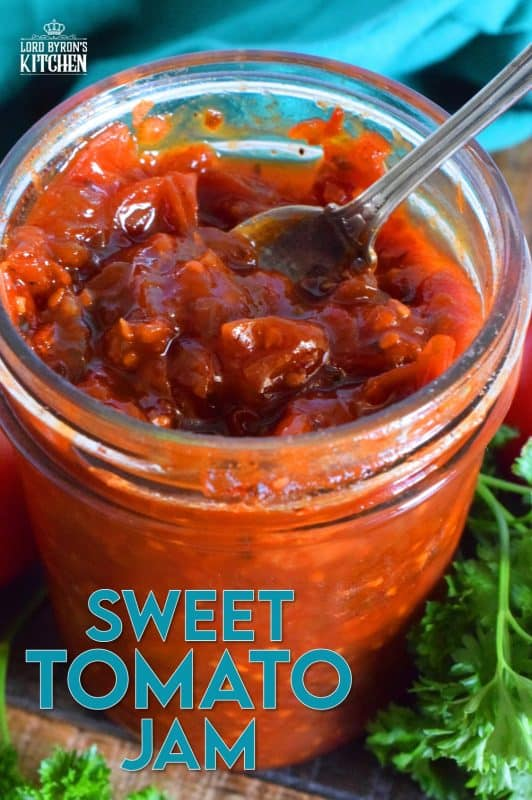Sweet Tomato Jam is a thick, sticky jam prepared with summer fresh tomatoes, onions, and seasonings. Move over ketchup; there's a new condiment in town! #tomato #jam #sweet #homemade