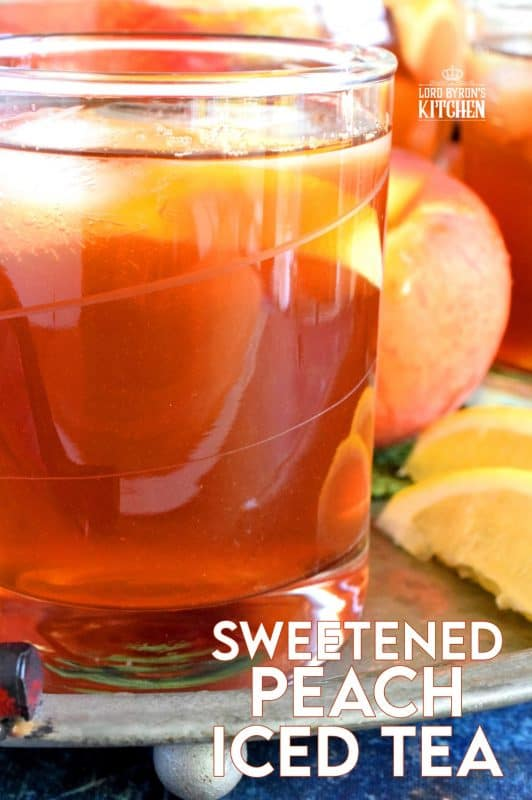 A few ingredients and a little patience is all you need to make a pitcher of Sweetened Peach Iced Tea - summer's favourite cold refresher! #icedtea #peach #summer #drink #iced #tea