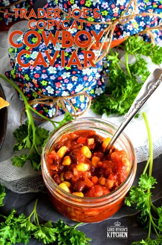 Corn, black beans, tomatoes, red bell peppers, onions, and chipotle in adobo sauce; is there a better salsa combination? Trader Joe's Copycat Cowboy Caviar is easy and delicious, and now you can stock your pantry with it and eat to your heart's content! #traderjoes #cowboy #caviar #copycat #recipe