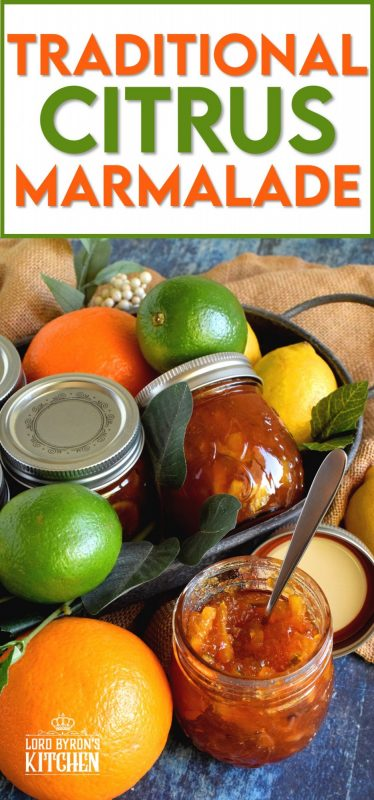 Lime, lemon, grapefruit, and orange combine to make this thick and chunky Traditional Citrus Marmalade. This one is for the serious marmalade enthusiast! #marmalade #citrus #jam #preserves #traditional