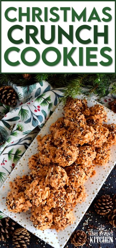So simple, so easy, and so delicious! Christmas Crunch Cookies are perfect for sharing and a great option for holiday cookie exchange parties. If you're looking for a budget-friendly cookie that you can whip up in a hurry, this is it! #christmas #holiday #cookies #treats #snacks #homemade