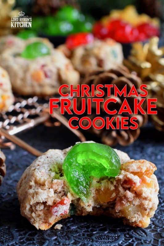 These festive cookies are a great way to pack the flavour and texture of a Christmas fruitcake into a beautiful holiday cookie! Loaded with candied fruit and walnuts, these cookies are almost an exact replica of the most common Christmas confection of all time! #fruitcake #cookies #christmas #holiday #baking