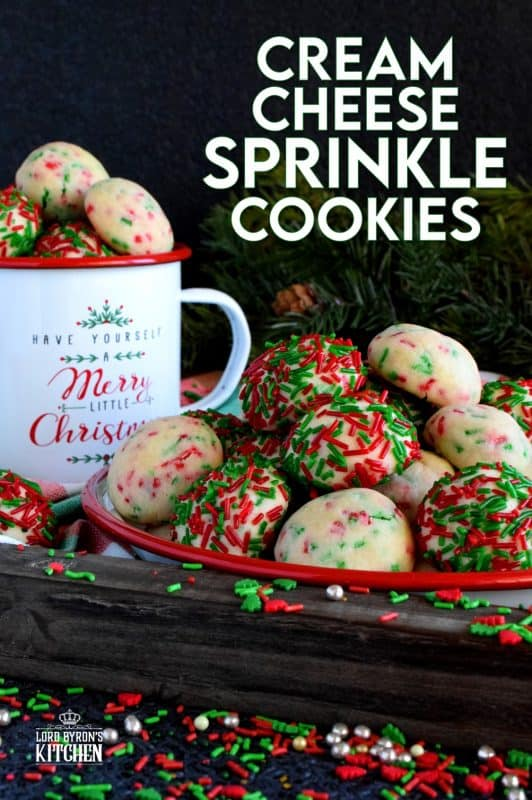 Who doesn't love cheerful and festive Christmas cookies with lots of sprinkles? Made with cream cheese, these will stay soft and moist much longer than most cookies. They're very easy to make and they taste as great as they look! #sprinkles #cookies #baking #christmas #holiday #balls