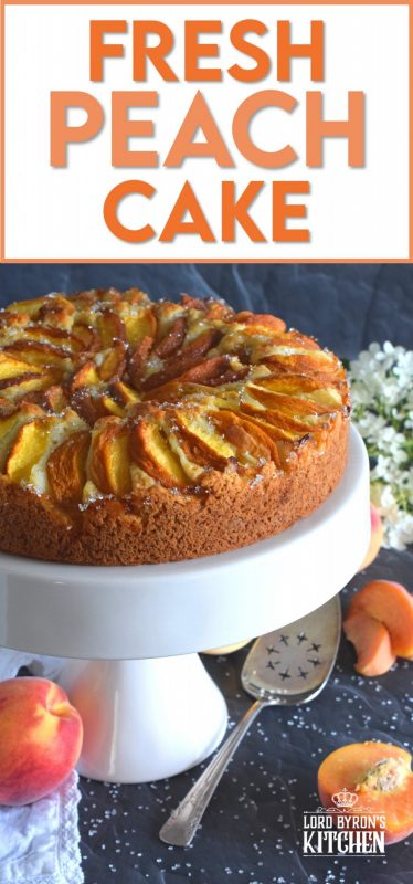 Fresh Peach Cake comes together very quickly, and is a perfectly rustic dessert with very little effort. The addition of the vanilla paste elevates the flavour and pairs so well with the peaches.  No decorating needed here! Just add a big scoop of vanilla ice cream and you're all set! #cake #peach #peaches #fruitcake #dessert #easydessert
