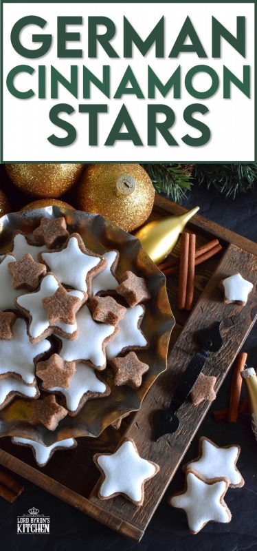 Ground almonds and cinnamon help to create the base of this traditional Christmas cookie. Meringue glazed German Cinnamon Stars are bound to be a new family favourite! It goes without saying that these cookies are simply stunning and surprisingly, they're so easy to make! #german #meringue #cinnamon #stars #christmas #holiday #baking #cookies