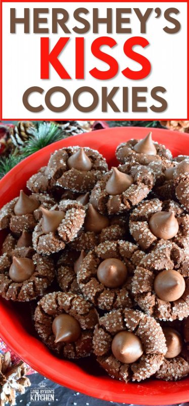 A deliciously decadent chocolate cookie, coated in sugar, and topped with a chocolate kiss, Hershey's Kiss Cookies are a perfect holiday treat that everyone will love! Want my advice? Make a lot of these, because they will disappear quite quickly! #hersheys #kiss #cookies #christmas #holiday #baking