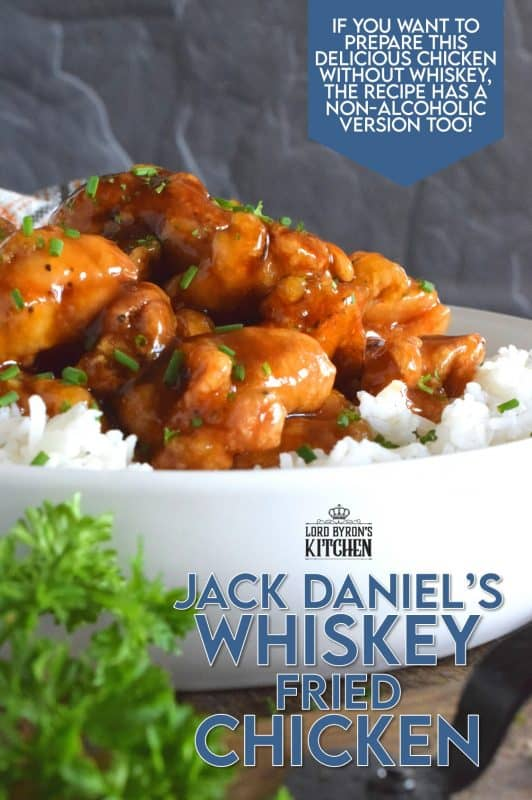 This crispy fried chicken is slathered in a thick, sweet, homemade sauce with a good splash of whiskey. Jack Daniel's Whiskey Fried Chicken uses skinless, boneless chicken thighs which have more flavour and hold up well to the hot oil. With my double fry method, your chicken will stay crispy even after soaking up that delicious sauce too! #whiskey #jackdaniels #whiskeychicken #friedchicken #sweetandsticky #sauce