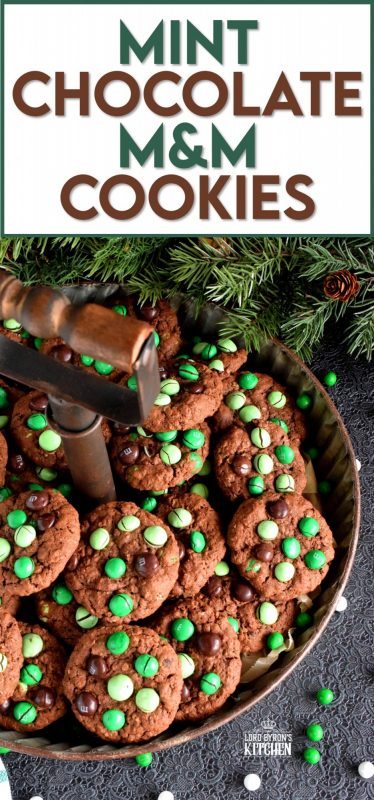 Mint Chocolate M&M Cookies are meant for the serious mint and chocolate lover. Loaded with chocolate mint candy, and packed with cocoa, these cookies are super moist and chewy! Don't care for mint? You can use your favourite M&M flavour and use vanilla extract instead of peppermint! #M&M #mint #cookies #christmas #holiday #baking