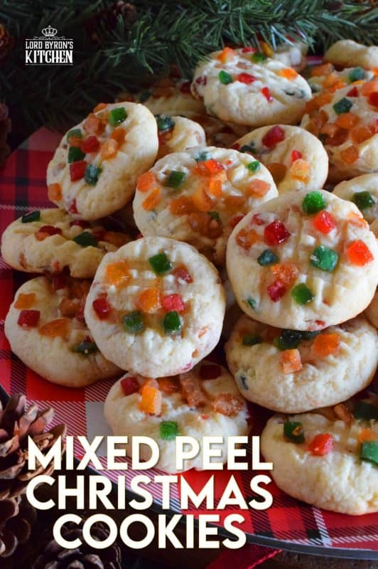 An old-time, classic Christmastime ingredient baked into a light and fluffy, soft and moist cookie. Mixed Peel Christmas Cookies are fruity, chewy, sweet, and delightfully festive! #fruit #peel #oldfashioned #English #cookies #Christmas #holiday #baking